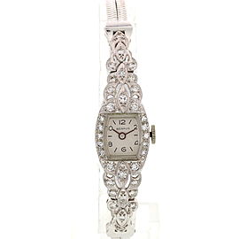 Benrus Platinum & 14K White Gold & Diamond Manual Vintage 14mm Womens Watch