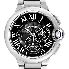 Cartier Ballon Bleu XL Black Dial Cronograph Steel Mens Watch W6920077