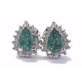 Fine Colombian Green Emerald Diamond 14k White Gold Stud Earrings 14
