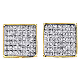 10K Yellow Gold with 0.88 ct Diamond Pave Studs Earrings