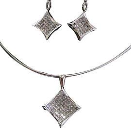 14K White Gold Diamond Necklace & Earrings
