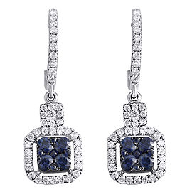 14K White Gold with 0.54ct Blue Sapphire & 0.45ct Diamond Square Danglers Earrings