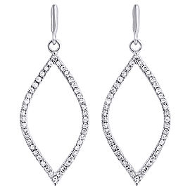 10K White Gold with 0.25ct Diamond Leaf Dangle Drop Earrings