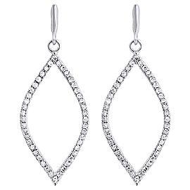 10K White Gold with 0.25ct Diamond Leaf Dangle Drop Earrings