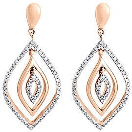 10K Rose Gold with 0.40ct Diamond Dangle Drop Earrings