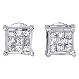14K White Gold and 0.50ct Diamond Cube Stud Earrings