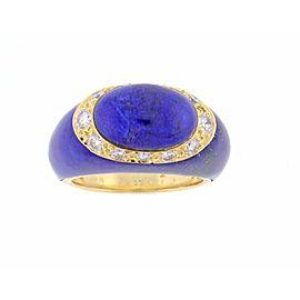 Van Cleef & Arpels 18K Yellow Gold Lapis and Diamond Ring