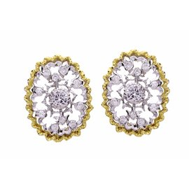 Buccellati 18K Yellow Gold & White Gold Diamond Earrings