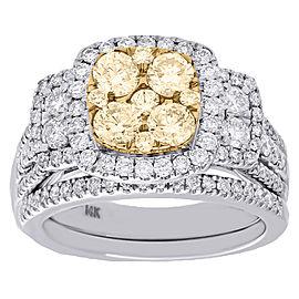 14K White Gold with 2.00ct White & Yellow Diamond Flower Wedding & Bridal Ring Size 7