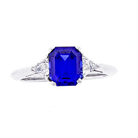 Tiffany & Co. Platinum 3-Stone 1.98 Ct Sapphire and Diamond Ring