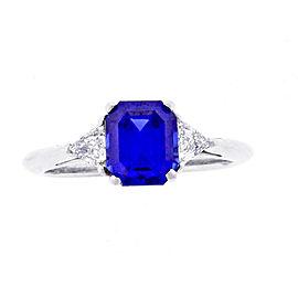 Tiffany & Co. Platinum 3-Stone 1.98 Ct Sapphire and Diamond Ring