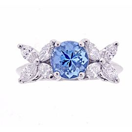 Tiffany & Co. Platinum 1.35 Ct Aquamarine and 0.80 Ct Diamond Victoria Ring Size 6