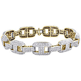 10K Yellow Gold 9.15ct Diamond Anchor Dome Link Bracelet