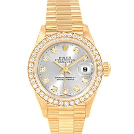 Rolex President 26mm Yellow Gold Diamond Ladies Watch 69138 Box Papers