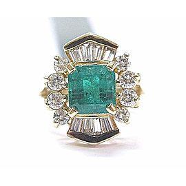 Yellow Gold Emerald, Diamond Womens Ring Size 4