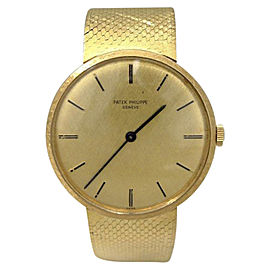 Patek Philippe Geneve 18K Yellow Gold Gold Dial Mnaual Vintage 33mm Mens Watch