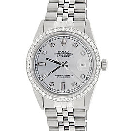 Rolex Datejust Stainless Steel Jubilee with Silver Diamond Dial & Bezel 36mm Unisex Watch