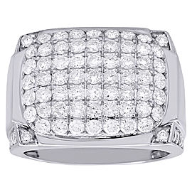 10K White Gold 2.88ct Diamond Dome Band Ring Size 10