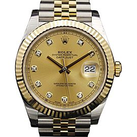 Rolex Datejust 126333 Stainless Steel & Yellow Gold Champagne Diamond Dial 41mm Watch