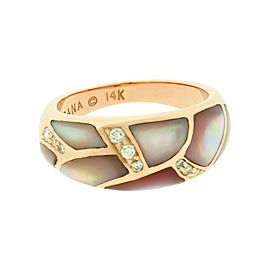 Kabana 14K Rose Gold 0.15ct Diamond & Pink Mother of Pearl Ring Size 5.5