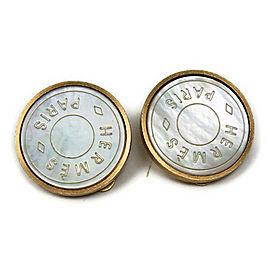 Hermes Gold Tone Metal Bijouterie Fantaisie Mother Of Pearl Mat Earrings