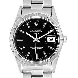 Rolex Date Black Dial Oyster Bracelet Steel Mens Watch 15210