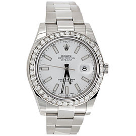 Rolex DateJust II 116300 Stainless Steel White Stick Dial with 2.75ct Diamond 41mm Mens Watch