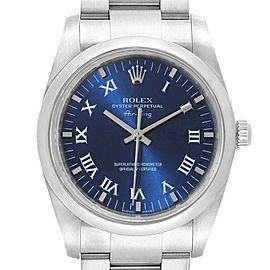 Rolex Air King 34 Blue Roman Dial Automatic Steel Mens Watch 114200