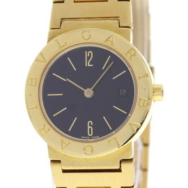 Bulgari BB 26 GGD 18K Yellow Gold Black Dial Quartz 26mm Womens Watch
