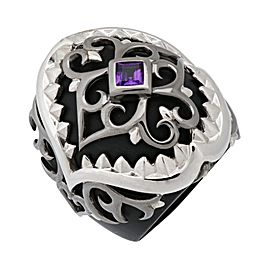 Stephen Webster 925 Sterling Silver Less Dents De La Mer Amethyst Shark Jaw Ring Size 7