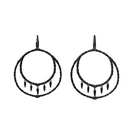 Stephen Webster 925 Sterling Silver Black Jewels Verne Bone Hoop Earrings