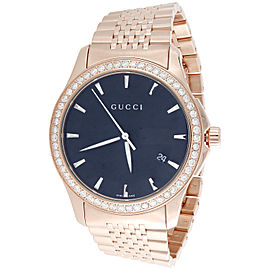 Gucci YA126402 Rose PVD Coated Stainless Steel with Black Dial 38mm Mens Watch