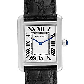 Cartier Tank Solo Steel Black Strap Ladies Watch W1018255 Box Papers