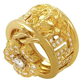 Versace 18K Yellow Gold 1.35ct. Diamond Flower Charm Band Ring Size 6.25