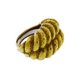 David Webb 18K Yellow Gold Twist Rope Shrimp Ring Size 6.25