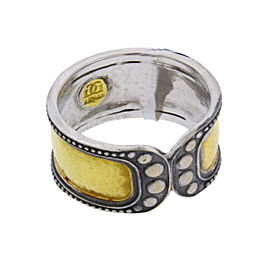 Gurhan 18K White Gold & 24K Yellow Gold Wide Tudor Ring Size 6.5