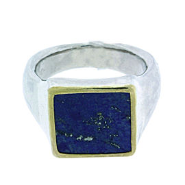 Gurhan 925 Sterling Silver & Palladium Buff Square Lapis Ring Size 10.75