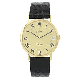 Rolex Cellini 4112 18K Yellow Gold & Leather Manual 32mm Womens Watch
