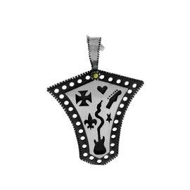 Gurhan 925 Sterling Silver Edge Shiny Large Shield Pendant