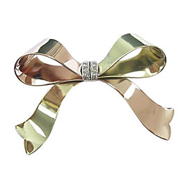 14K Yellow Gold & Rose Gold with 0.12ct Diamond Ribbon Brooch