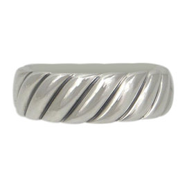 David Yurman 925 Sterling Silver Eternity Cable Wide Band Ring Size 11.75