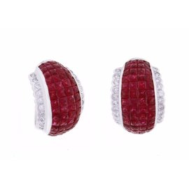 18K White Gold with Ruby & Diamond Earrings