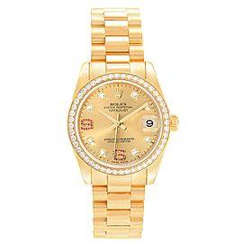 Rolex President 31 Midsize Yellow Gold Diamond Ruby Ladies Watch 178288