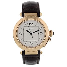Cartier Pasha 2770 18K Rose Gold & Leather Automatic 42mm Mens Watch
