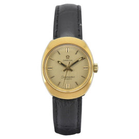 Omega Seamaster Cosmic 535016-TOOL Gold Plated / Leather Vintage 24mm Womens Watch