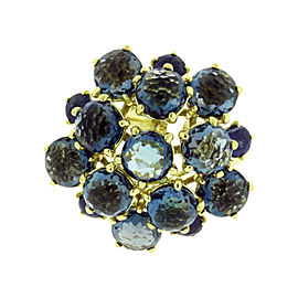 Ippolita 18K Yellow Gold with Blue Sapphire and London Blue Topaz Lollipop Ring Size 6.5
