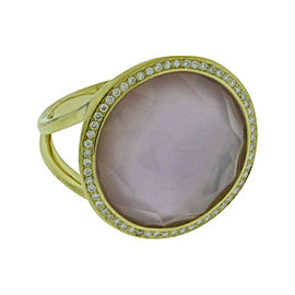 Ippolita 18K Yellow Gold with Diamond, Amethyst & Mother of Pearl Lollipop Ring Size 7