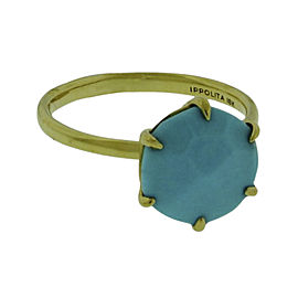 Ippolita 18K Yellow Gold with Turquoise Rock Candy Ring Size 7