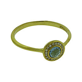Ippolita 18K Yellow Gold with Diamonds and London Blue Topaz Mini Lollipop Ring Size 7