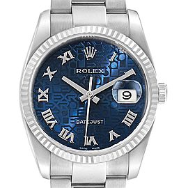Rolex Datejust Steel White Gold Blue Anniversary Dial Mens Watch 116234